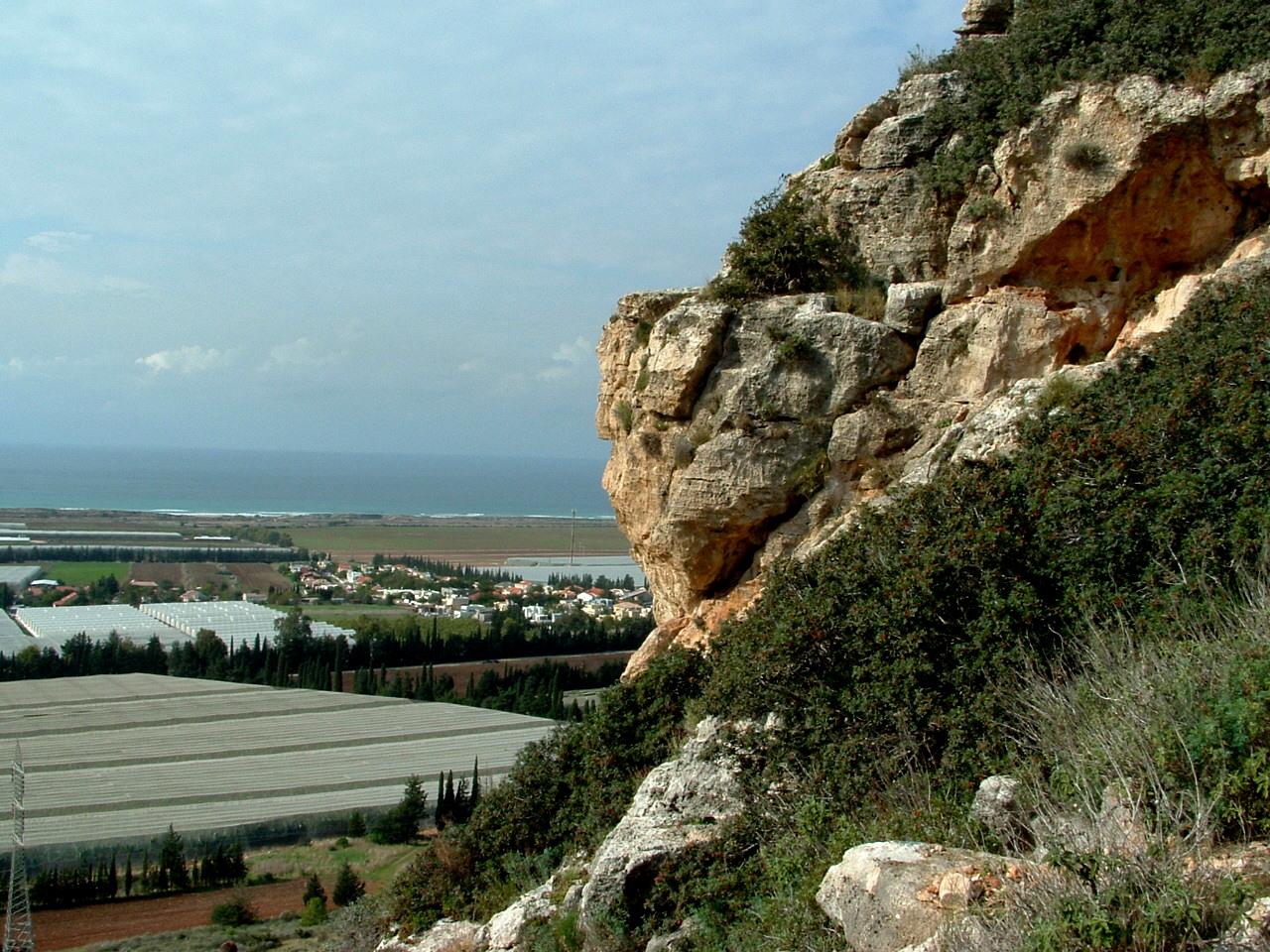 מצוק מגדים מישור החוף הצפוני מול מושב מגדים , הר הכרמל