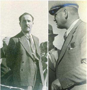 """שמחה בלאס ולוי אשכול ביום חנוכת מפעל הקישון – מפעלה הראשון של """"מקורות"""" בעמק 5.10.1938"""
