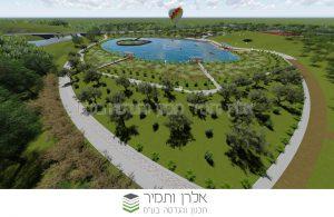 הדמיית הפארק העתידי בנתיבות עם האגם.