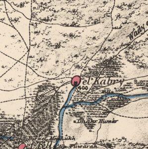 אזור כאברי השופע בממים במפה שמתוארכת לשנת 1870.