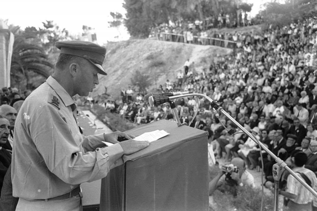 יצחק רבין במהלך נאום הר הצופים