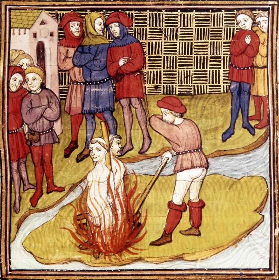 ציור מהמאה ה-14 המתאר שריפת טמפלרים על המוקד באשמת כפירה