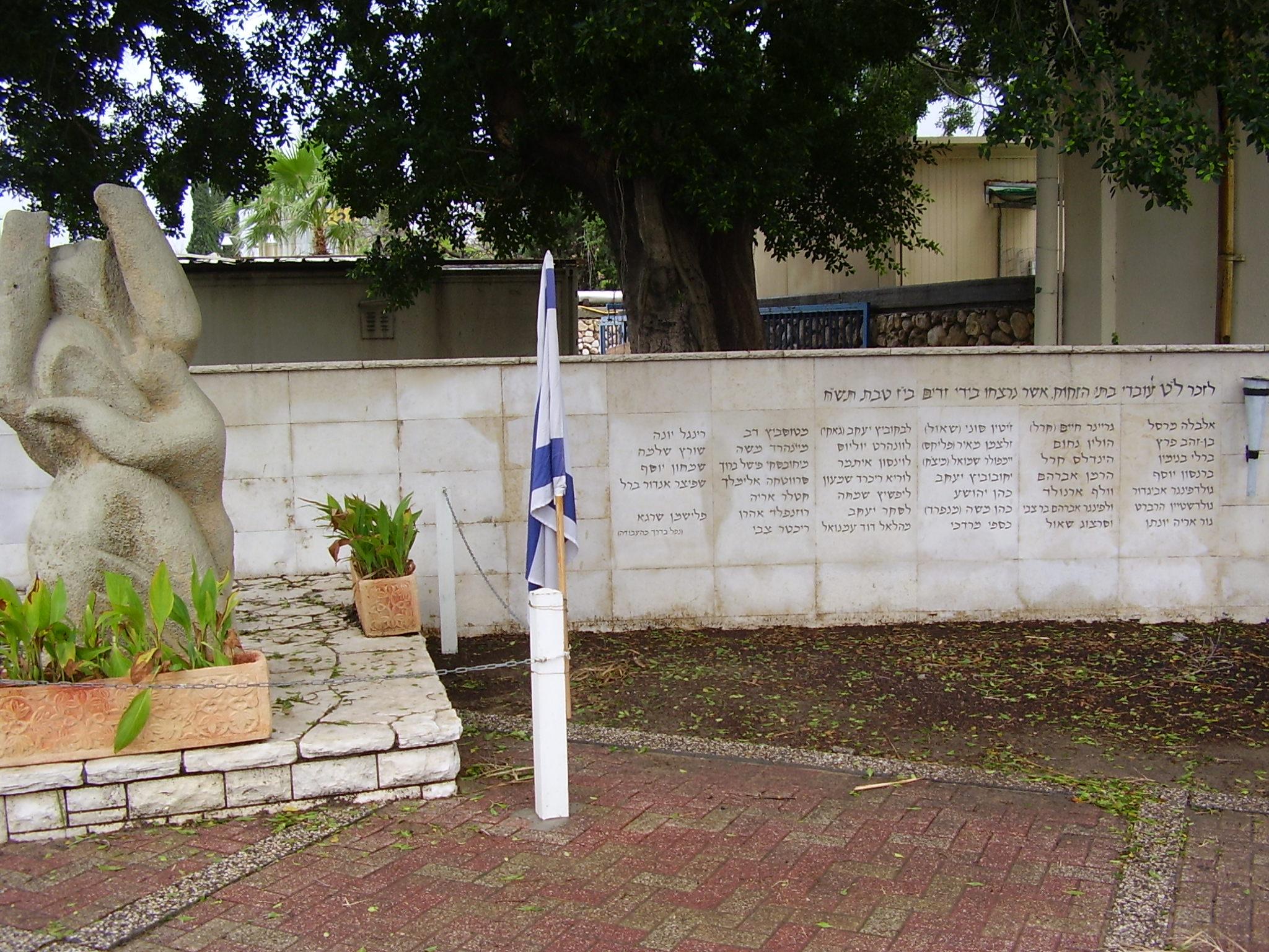 אנדרטה בחצר בתי הזיקוק, לעובדי בתי הזיקוק שנרצחו על ידי ערבים ב-30/12/1947